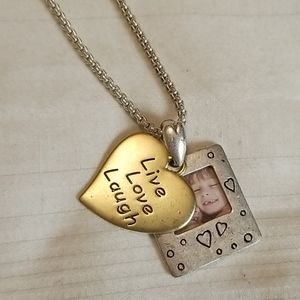 Jewelry - New Silver Gold Live Love Laugh Frame Necklace